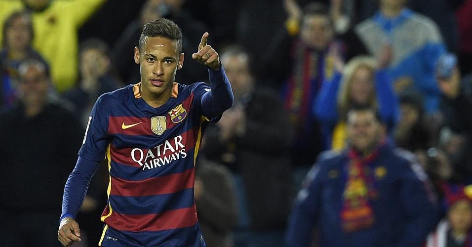 Neymar comemora o seu gol contra o Athletic Bilbao no Espanhol