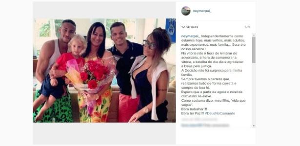 'Decisão não foi surpresa para minha família', disse pai de Neymar no Instagram