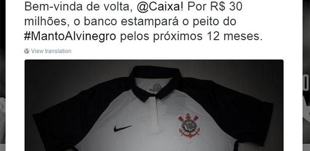 b6e46db787 Corinthians ganha queda de braço e anuncia volta da Caixa por R  30 milhões  - 13 04 2016 - UOL Esporte