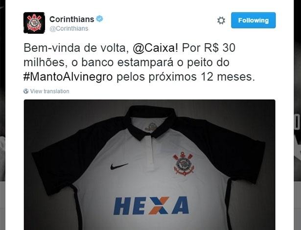 Corinthians anuncia acordo com a Caixa