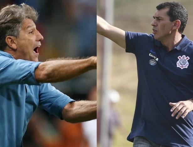 Os técnicos Renato Gaúcho (Grêmio) e Fábio Carille (Corinthians)