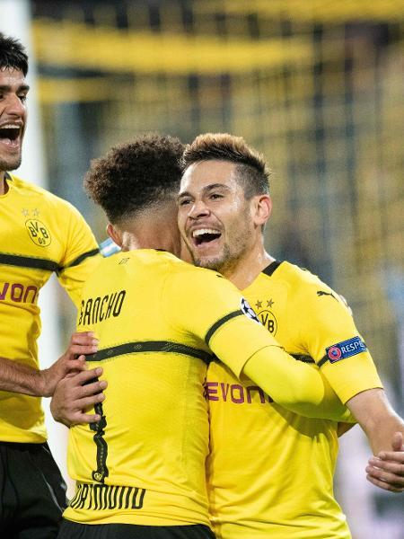 Raphael Guerreiro comemora gol do Dortmund contra o Atlético de Madri - Bernd Thissen / dpa / AFP