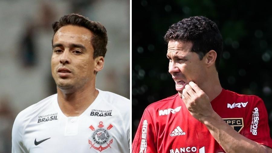 Jadson e Hernanes ainda não brilharam em 2019, defendendo Corinthians e São Paulo, respectivamente - Montagem sobre fotos de Marcello Zambrana/AGIF e Daniel Vorley/AGIF