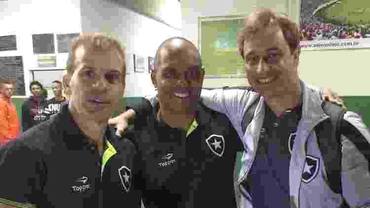 Felipe Tigrão, novo técnico do Botafogo, ao lado de Donizete Pantera e Túlio Maravilha, seus companheiros de clube nos anos 1990 - Divulgação/Botafogo - Divulgação/Botafogo