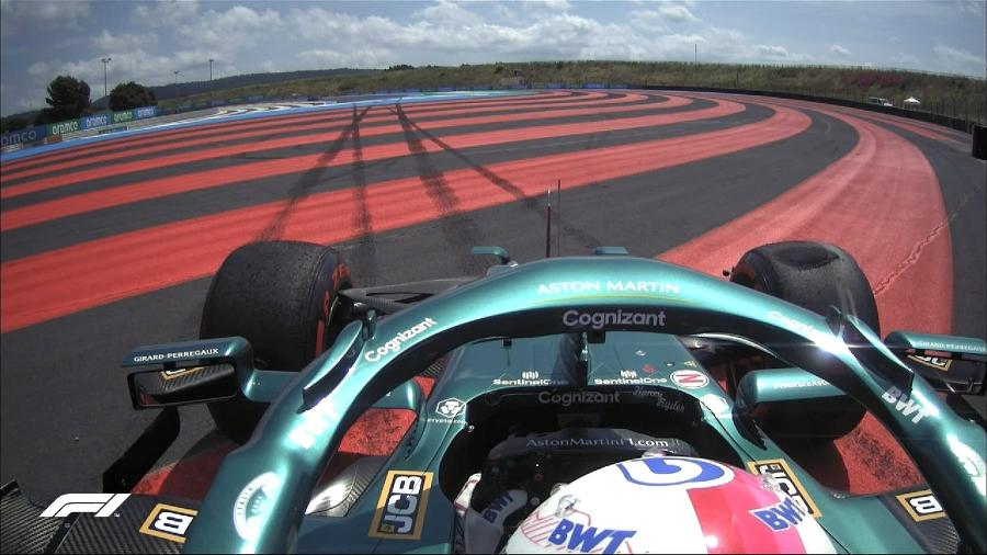 Sebastian Vettel rodou e bateu sua Aston Martin durante a sessão no circuito de Paul Ricard - Reprodução/Twitter