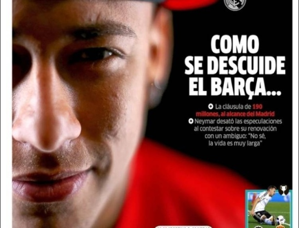 Jornal Marca vê chance para Real Madrid contratar Neymar. Se Barcelona vacilar - Reprodução