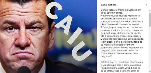 Romário criticou o ex-coordenador de seleções, Gilmar Rinaldi, e os dirigentes da CBF em post