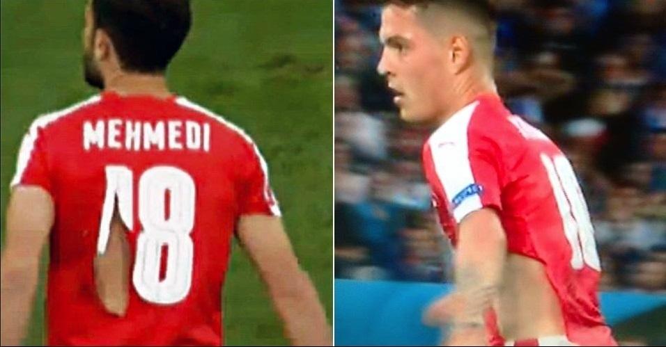 Dois jogadores da Suíça precisaram tiveram as camisas rasgadas na partida deste domingo contra França