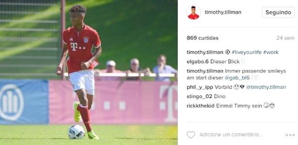 Timothy Tillman jovem do Bayern de Munique em ação pelo clube alemão