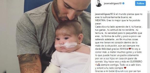 O filho de Jesé nasceu prematuro e vive internado em um hospital da Espanha