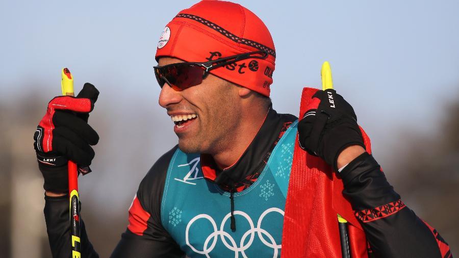 Pita Taufatofua durante prova de 15 km do esqui cross-country - Carlos Barria/Reuters