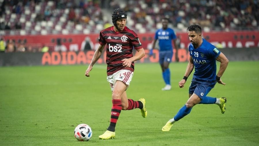 Rafinha durante a semifinal do Mundial de Clubes entre Flamengo e Al Hilal - Alexandre Vidal / Flamengo
