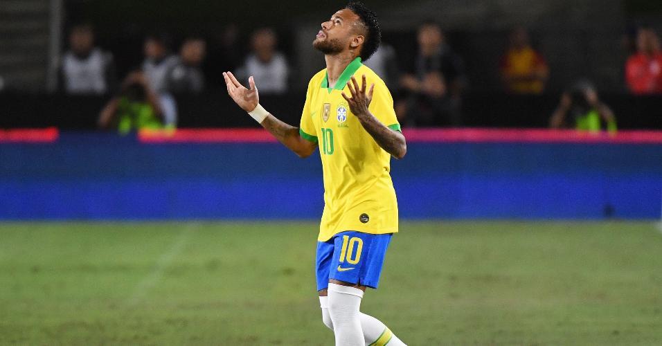 Neymar em setembro de 2019, em amistoso do Brasil