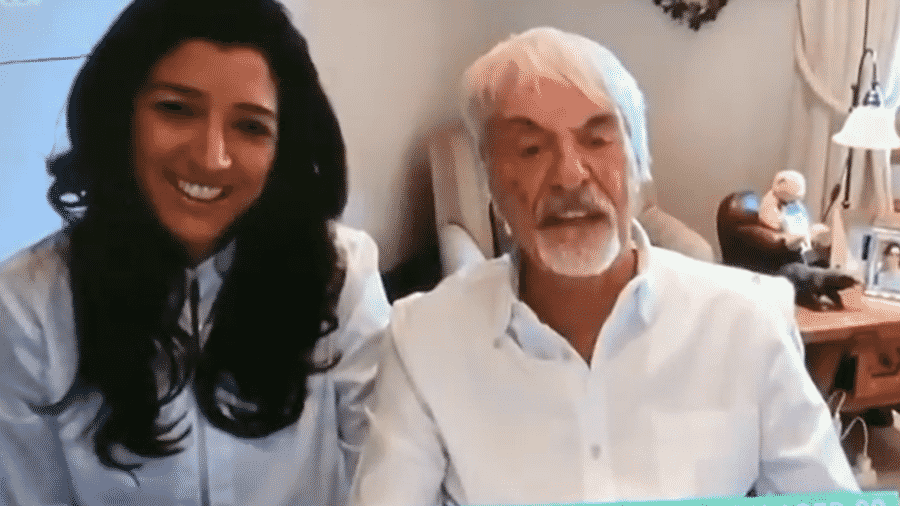 Bernie Ecclestone e a esposa, Fabiana, em participação em TV britânica - Reprodução