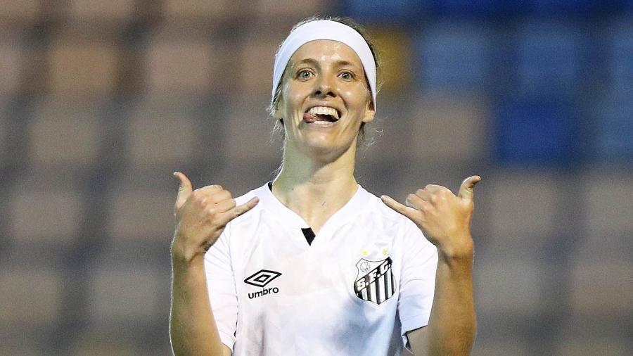 Ketlen dedicou o gol para a avó, que faleceu antes da atacante nascer, mas que era torcedora fervorosa do Santos - Pedro Ernesto Guerra Azevedo/Santos