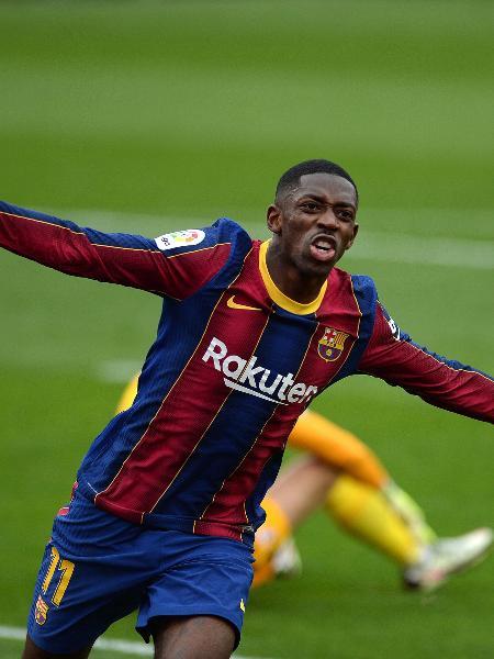Ousmane Dembelé comemora gol do Barcelona diante do Sevilla pelo Campeonato Espanhol - Cristina Quicler/AFP