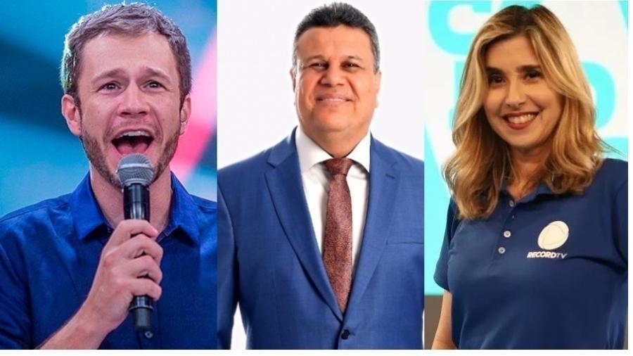 """Tiago Leifert, Téo José e Mylena Ciribelli: SBT e Record terão futebol contra """"BBB21"""", da Globo - Divulgação/Globo/SBT/Record"""
