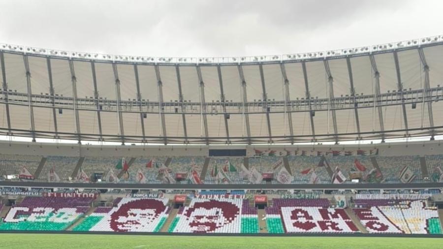 """Mosaico da torcida do Fluminense homenageará ídolos do clube que foram """"carrascos"""" do rival Flamengo - Reprodução"""