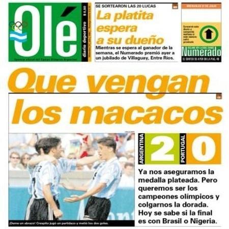 """Capa do jornal argentino """"Olé"""" em 31 de julho de 1996 - Reprodução Olé"""