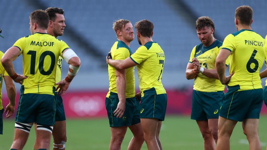 Seleção masculina de rugby da Australia em jogo contra o Canadá pelos Jogos de Tóquio 2020 - REUTERS/Siphiwe Sibeko