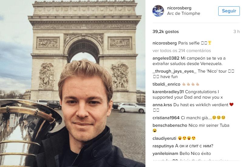 Atual campeão da Fórmula 1, Nico Rosberg aproveita primeiros dias da aposentadoria em Paris