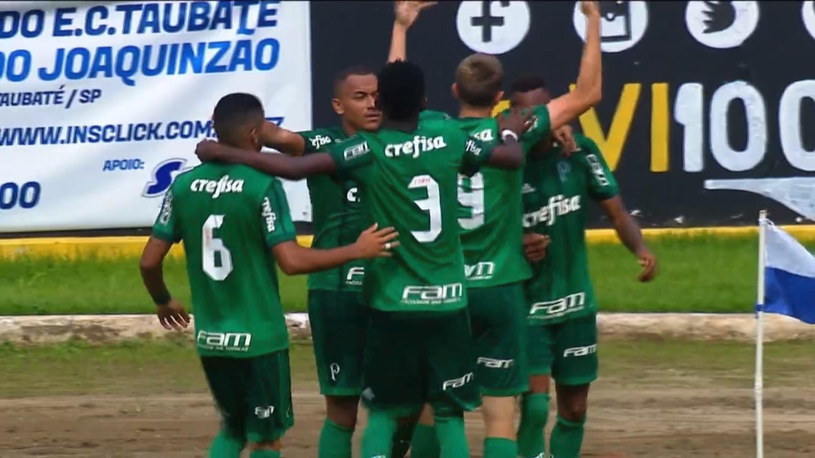 Jogadores do Palmeiras comemoram gol marcado sobre o Vasco na Copinha
