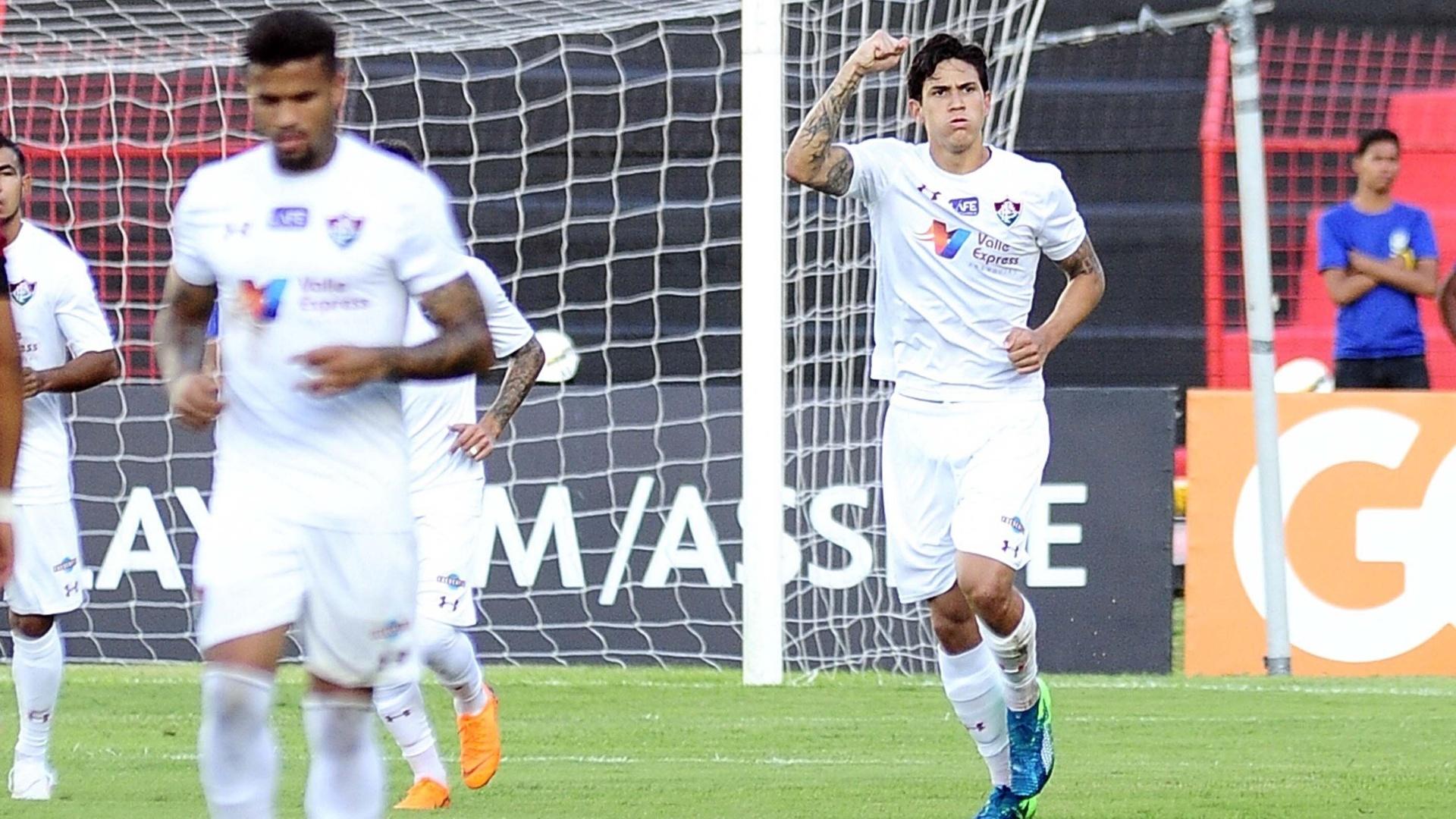 Pedro comemora gol marcado pelo Fluminense contra o Sport, pelo Campeonato Brasileiro