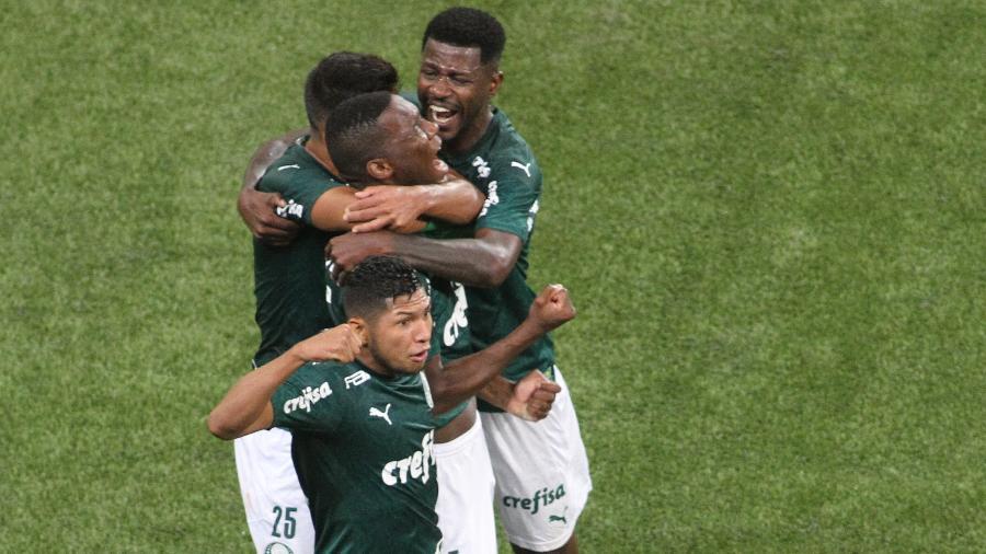 Jogadores do Palmeiras celebram gol de Patrick de Paula. Time alviverde tem acordo com Turner em TV fechada - LUCIANO CLAUDINO/CÓDIGO19/ESTADÃO CONTEÚDO