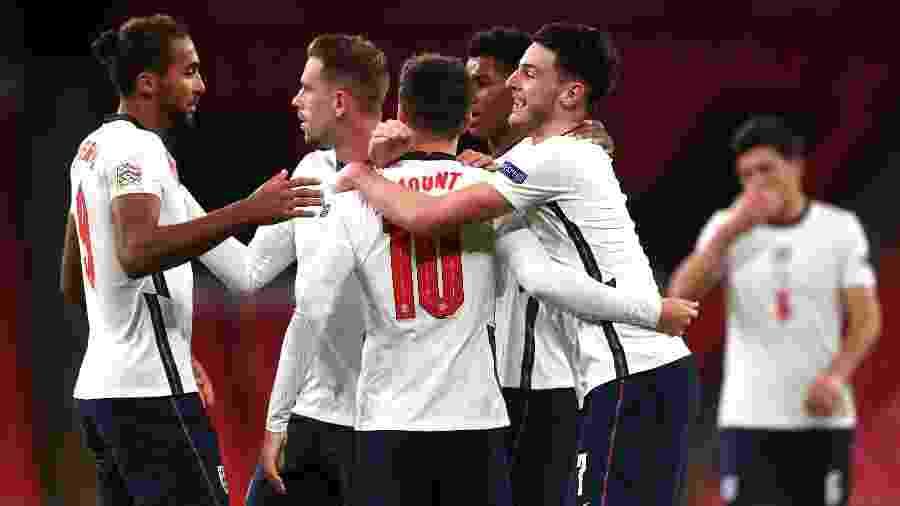 Jogadores da Inglaterra comemoram gol em duelo contra a Bélgica, pela Liga das Nações -  Neil Hall/PA Images via Getty Images
