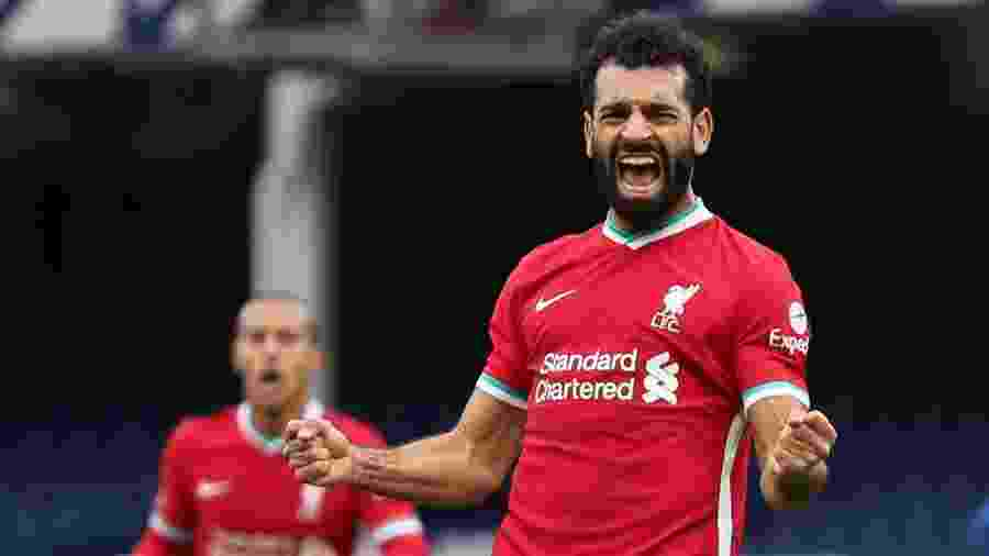 Salah comemora gol do Liverpool contra o Everton - Catherine Ivill/Reuters