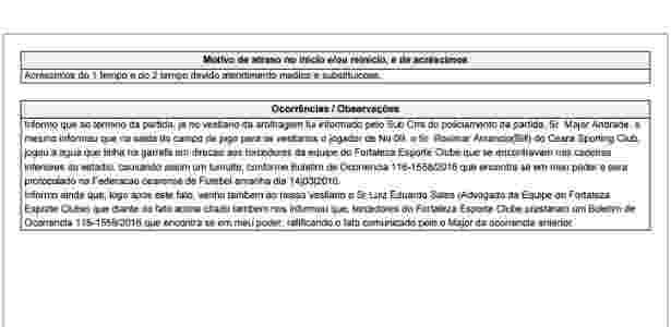 Súmula de Fortaleza 2 x 1 Ceará - Reprodução - Reprodução