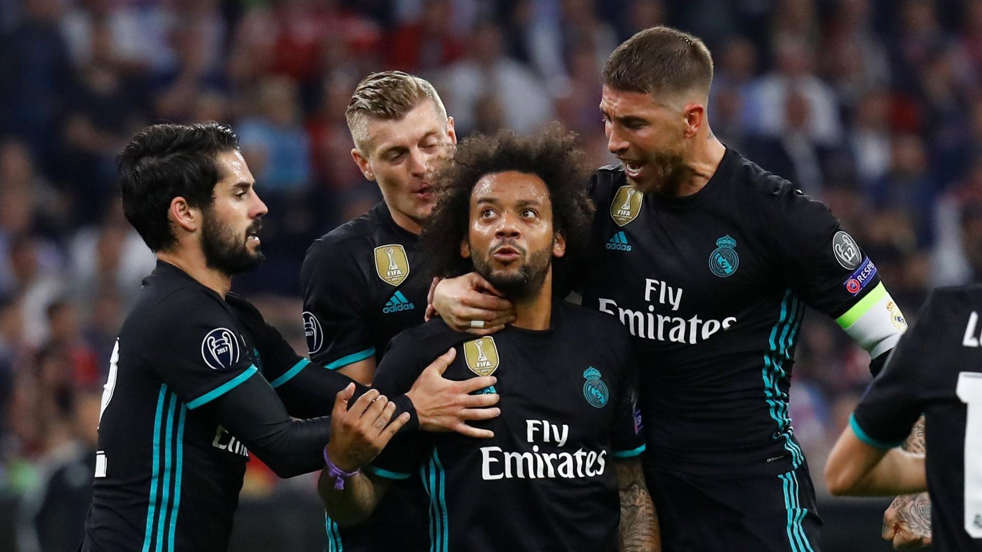 Marcelo comemora gol marcado em Bayern de Munique x Real Madrid, pela Liga dos Campeões