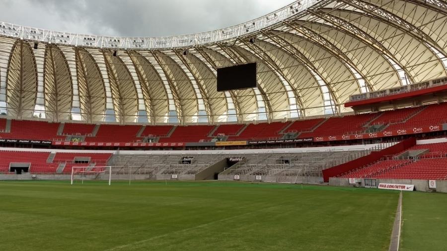 Setor sem cadeiras do estádio Beira-Rio passa por últimos ajustes antes de ser liberado - Divulgação/SC Inter
