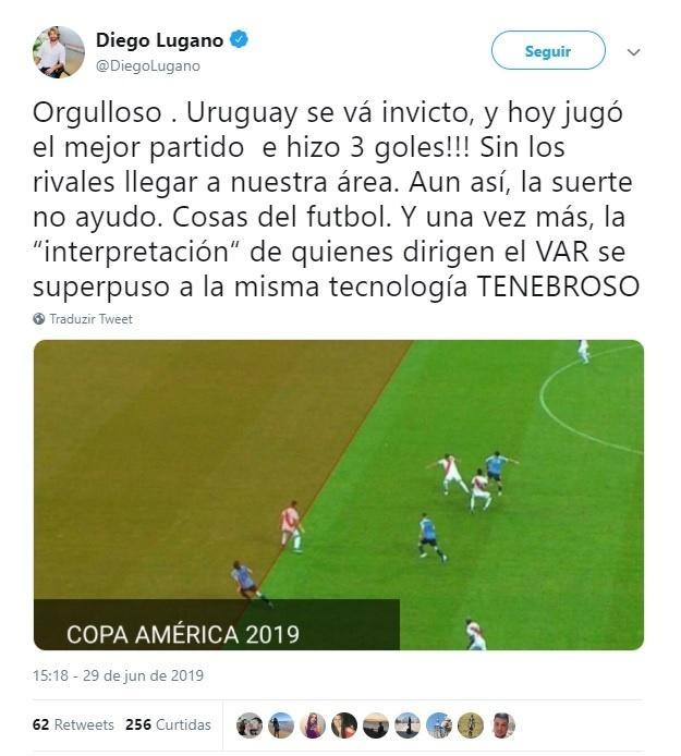 Lugano elogia atuação do Uruguai e questiona utilização do VAR
