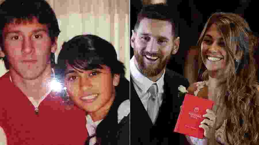 Mudaram muito? Foto antiga de Messi ao lado de Antonela deu o que falar entre os fãs do argentino - Reprodução/Instagram - Montagem UOL