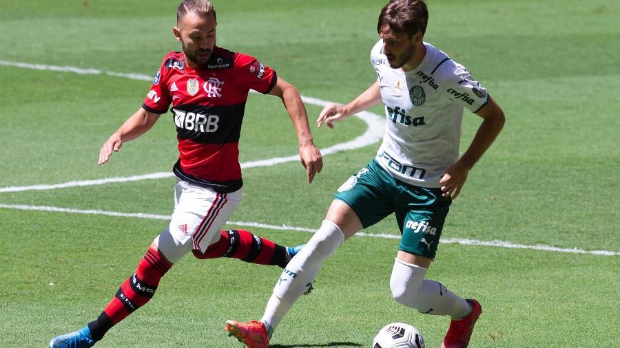 Lance do jogo entre Flamengo e Palmeiras, válido pela Supercopa do Brasil. Disputa também fora de campo - Marcelo Cortes / Flamengo