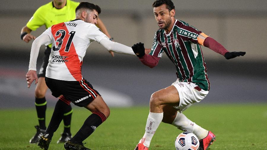 Fred foi o melhor do Fluminense na vitória sobre o River Plate na Libertadores - Juan Mabromata-Pool/Getty Images