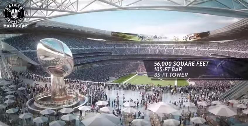 Réplica gigante do troféu do Super Bowl fica na área de um grande bar em um dos extremos do Los Angeles Stadium, ainda em fase de projeto