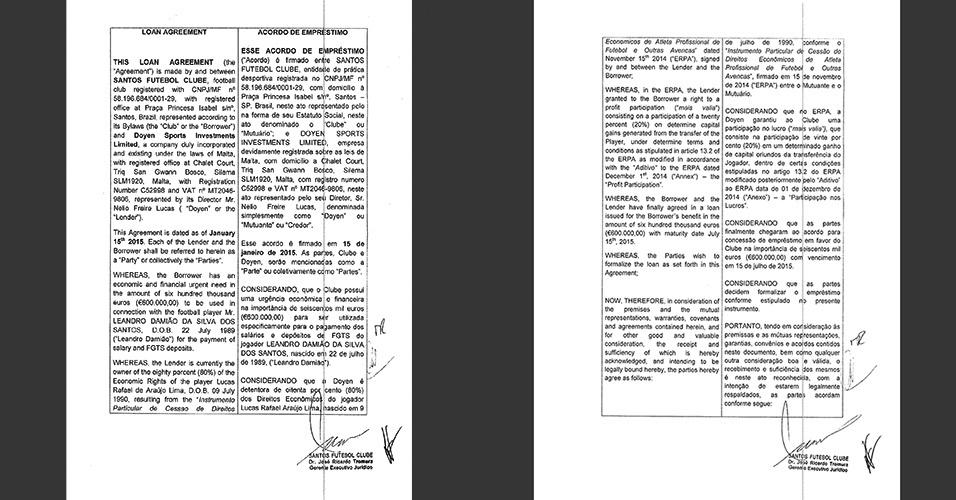 Páginas mostram contrato de empréstimo da Doyen pro Santos e valor de 600 mil euros para pagar salário de Damião