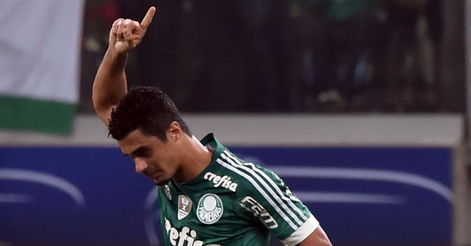 Egídio comemora o seu gol pelo Palmeiras contra o River Plate-URU