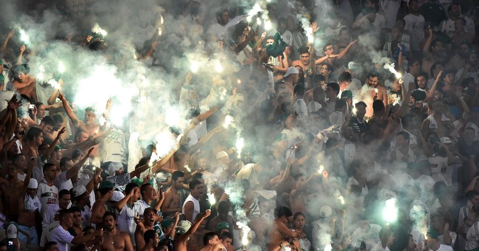 Torcida do Palmeiras apoia o time no Allianz Parque contra o River-URU, na Libertadores