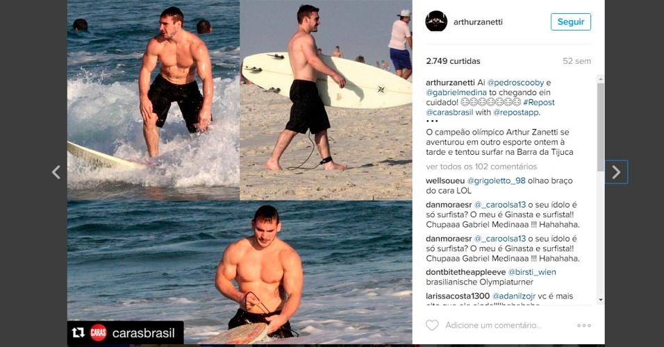 Arthur Zanetti surfa no Rio - Instagram