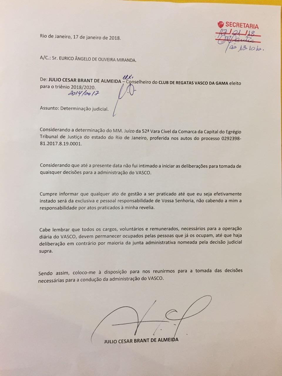 Determinação judicial Vasco