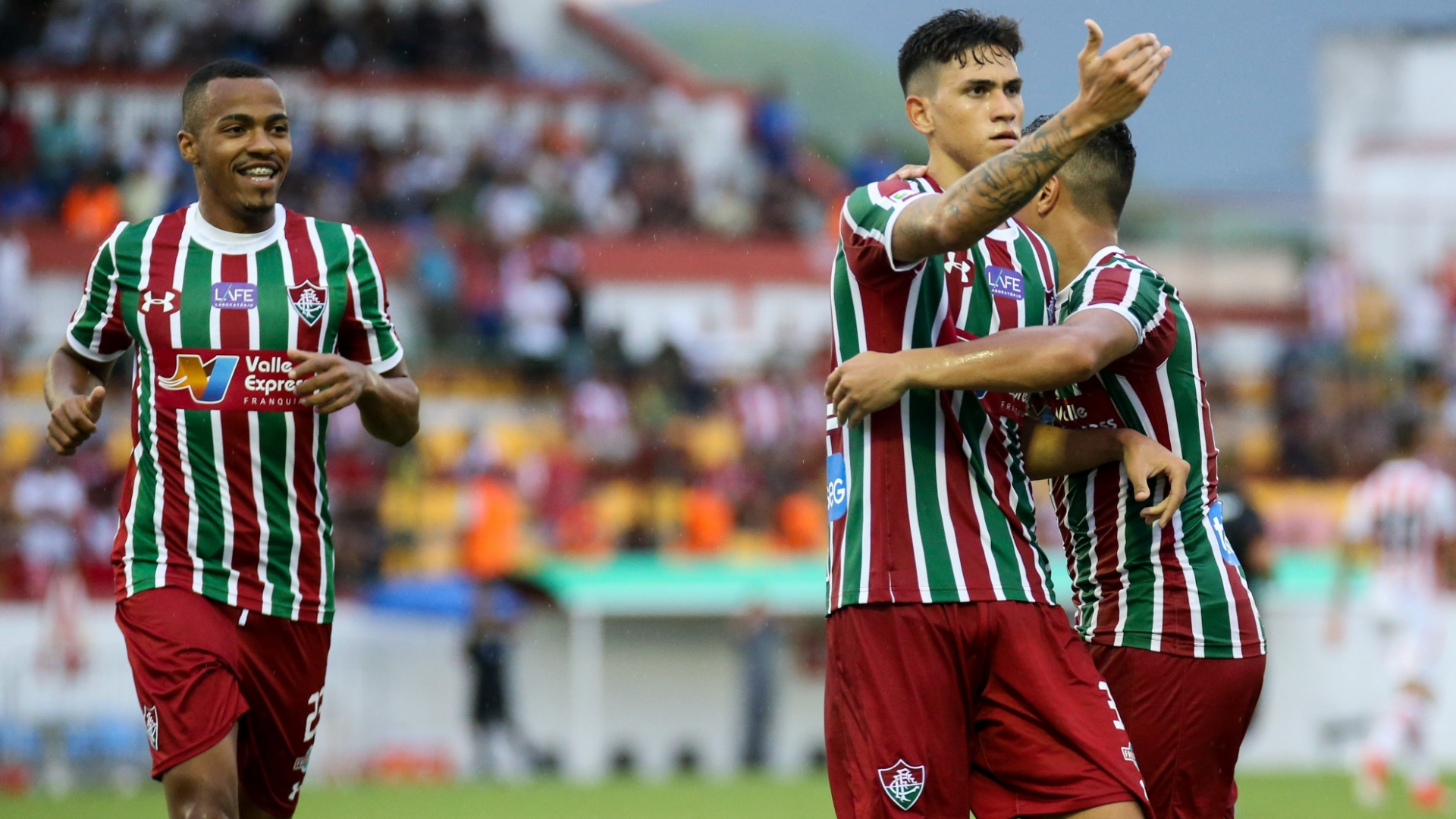 Pedro Santos comemora gol do Fluminense diante do Bangu em jogo pela Taça Rio, segundo turno do Campeonato Carioca, de 2018