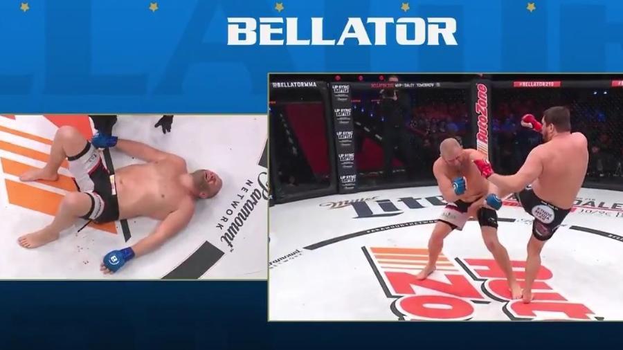 Chute acidental de Mitrione na região genital de Kharitonov encerrou o duelo - Reprodução/Bellator