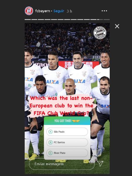 Resposta correta, Corinthians não apareceu entre as opções de resposta em quiz do Bayern - Reprodução