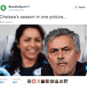 """Eva Carneiro foi uma das que mais apareceu. Nesta imagem, com a legenda """"A temporada do Chelsea em uma foto"""", ela aparece rindo ao fundo. O clube está à beira da zona de rebaixamento no Inglês - Reprodução / Twitter"""