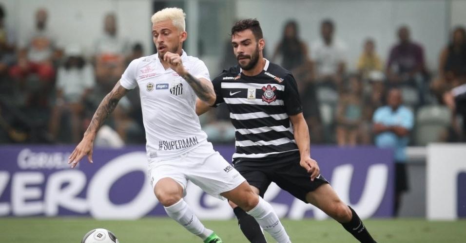 Lucas Lima (Santos) e Bruno Henrique (Corinthians) disputam a bola no clássico válido pelo Campeonato Paulista