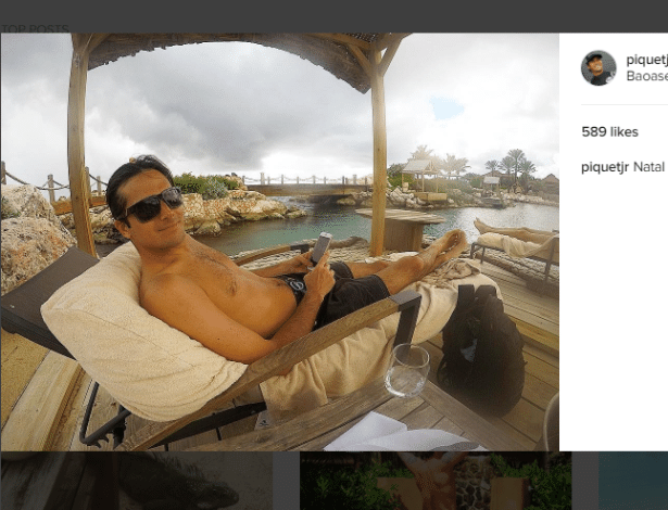 Nelsinho Piquet foi descansar em resort em Curaçao, no Caribe