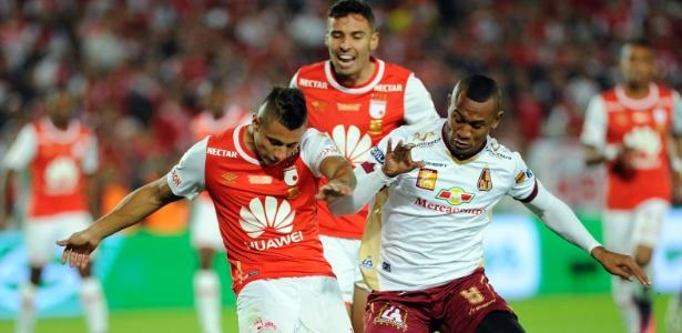 Ángelo Rodríguez (direita) foi vice-campeão colombiano com o Tolima